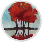 Round Beach Towel featuring the painting Trees For Alice by Michelle Abrams