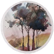 Round Beach Towel featuring the painting Trees by Geni Gorani