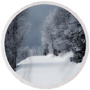 Trees Hills And Snow Round Beach Towel