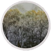 Round Beach Towel featuring the photograph Trees Illuminated By Faint Sunshine, Double Exposed Image by Nick Biemans