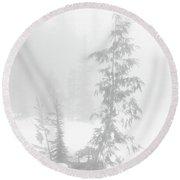 Trees In Fog Monochrome Round Beach Towel