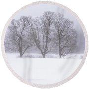 Trees In Fog Round Beach Towel