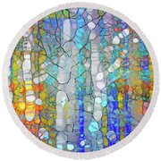 Trees In Hiding Round Beach Towel