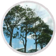 Trees In Kauai Round Beach Towel