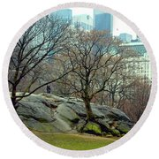 Trees In Rock Round Beach Towel by Sandy Moulder