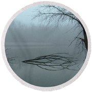 Trees In The Fog On The River Round Beach Towel