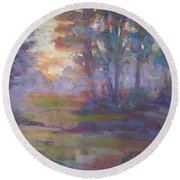 Trees In The Mist Round Beach Towel