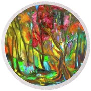 Trees Round Beach Towel by Jenny Lee