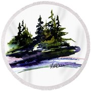 Trees Round Beach Towel by Marti Green