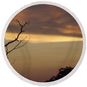 Round Beach Towel featuring the photograph Trees Of The Lake by Don Koester