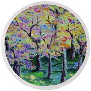 Trees On Hideaway Ct Round Beach Towel by Lisa Rose Musselwhite