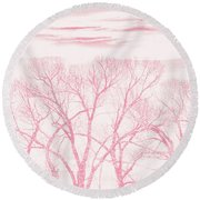 Round Beach Towel featuring the photograph Trees Silhouette Pink by Jennie Marie Schell