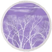 Round Beach Towel featuring the photograph Trees Silhouette Purple by Jennie Marie Schell