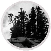 Round Beach Towel featuring the photograph Trees Silhouettes by Yulia Kazansky