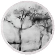 Trees Through The Window Round Beach Towel