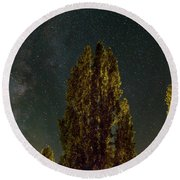 Trees Under The Milky Way On A Starry Night Round Beach Towel