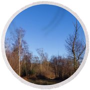 Trees With The Moon Round Beach Towel
