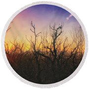 Round Beach Towel featuring the photograph Treetop Silhouette - Sunset At Lapham Peak #1 by Jennifer Rondinelli Reilly - Fine Art Photography