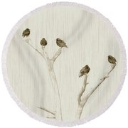 Treetop Starlings Round Beach Towel