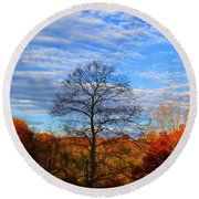 Round Beach Towel featuring the photograph Treetops Sunrise by Kathryn Meyer