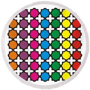 Colorful Quatrefoil Pattern Round Beach Towel