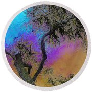 Round Beach Towel featuring the photograph Trembling Tree by Lori Seaman
