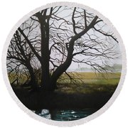 Trent Side Tree. Round Beach Towel