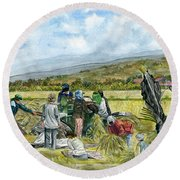 Round Beach Towel featuring the painting Treshing Rice by Melly Terpening