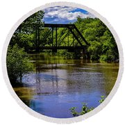Round Beach Towel featuring the photograph Trestle Over River by Mark Myhaver