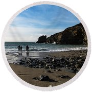 Round Beach Towel featuring the photograph Trevellas Cove by Brian Roscorla