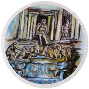 Trevi Fountain, Rome Round Beach Towel