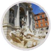 Trevi Fountain Rome Italy Round Beach Towel