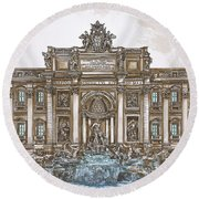 Round Beach Towel featuring the painting  Trevi Fountain,rome  by Andrzej Szczerski