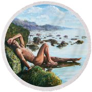 Trevor On The Beach Round Beach Towel