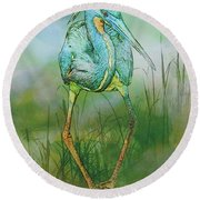 Tri-colored Heron Balancing Act - Colorized Round Beach Towel