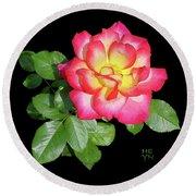 Tri-color Pink Rose2 Cutout Round Beach Towel by Shirley Heyn