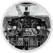 Tri-motor Cockpit - 2017 Christopher Buff, Www.aviationbuff.com Round Beach Towel
