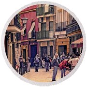 Round Beach Towel featuring the photograph Triana On A Sunday Afternoon 2 by Mary Machare