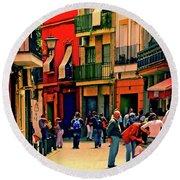 Round Beach Towel featuring the photograph Triana On A Sunday Afternoon 3 by Mary Machare