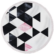 Triangle Geometry Round Beach Towel