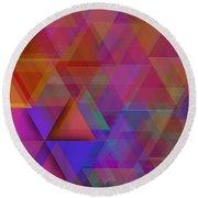 Triangle In Violet Mist Round Beach Towel