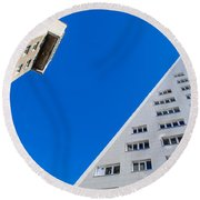 Triangle Modern Building Round Beach Towel by John Williams