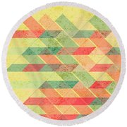 Triangles Pattern Round Beach Towel by Gaspar Avila