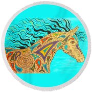 Tribal Carnival Spirit Horse Round Beach Towel by Susie WEBER