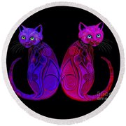 Round Beach Towel featuring the digital art Tribal Cats by Nick Gustafson