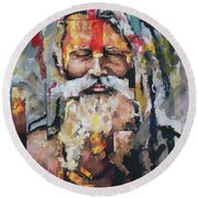 Tribal Chief Sadhu Round Beach Towel
