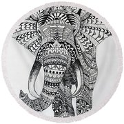Tribal Elephant Round Beach Towel by Ashley Price