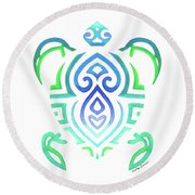 Tribal Turtle White Background Round Beach Towel