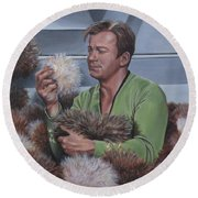 Round Beach Towel featuring the painting Tribble Trouble by Kim Lockman