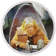 Tribunal Trump Round Beach Towel by Christopher McKenzie